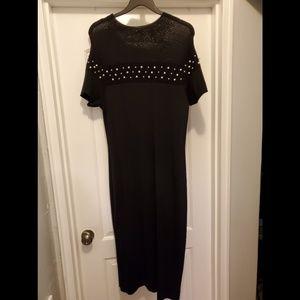 New York & Company Dresses - Knit black midi dress with pearl detailing